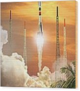 Soyuz-2 Rocket Launch, Artwork Wood Print