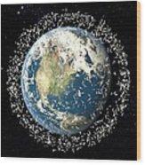 Space Junk, Conceptual Artwork Wood Print
