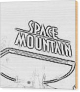 Space Mountain Sign Magic Kingdom Walt Disney World Prints Black And White Photocopy Wood Print