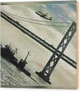 Space Shuttle And San Francisco Bay Bridge  Wood Print