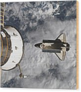 Space Shuttle Atlantis And The Docked Wood Print