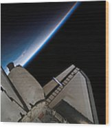 Space Shuttle Endeavour Backdropped Wood Print