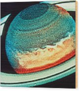 Space Telescope Image Of Saturn Showing White Spot Wood Print