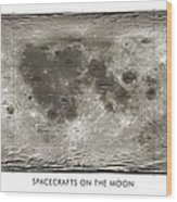 Spacecraft On The Moon, Lunar Map Wood Print