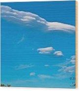 Spaceship Cloud Wood Print