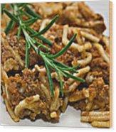 Spaghetti With Sauce Wood Print by Susan Leggett