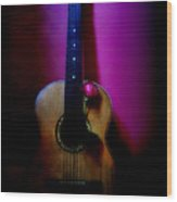Spanish Guitar And Red Rose Wood Print