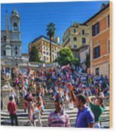 Spanish Steps Wood Print