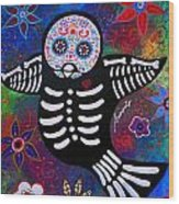 Sparrow Day Of The Dead Wood Print