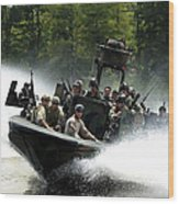 Special Forces In A High-speed Combat Wood Print