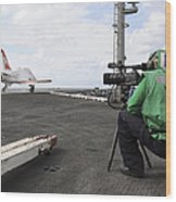 Specialist Records Video Of Flight Deck Wood Print