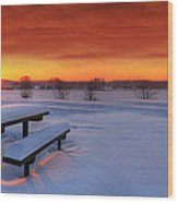 Spectaculat Winter Sunset Wood Print by Jaroslaw Grudzinski