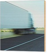 Speeding Big Truck Wood Print