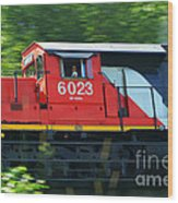 Speeding Cn Train Wood Print