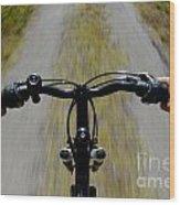 Speeding Mountain Bicycle Wood Print
