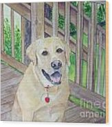 Spencer On Porch Wood Print