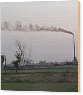 Spewing Smoke And Pollution Into A Green Rural Environment Wood Print