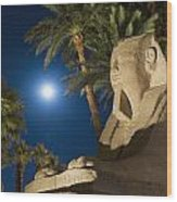 Sphinx And Date Palms With Full Moon Wood Print