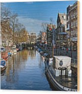 Spiegelgracht And Ship Amsterdam Wood Print