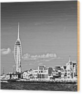 Spinnaker Tower And Round Tower Portsmouth Bw Wood Print