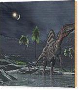 Spinosaurus Witnessing A Lunar Impact Wood Print