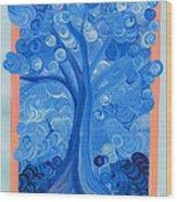 Spiral Tree Winter Blue Wood Print