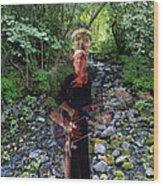 Spirit Rising From The Creek Wood Print