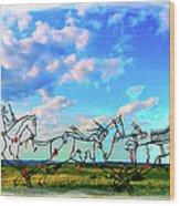 Spirit Warriors - Little Bighorn Battlefield Indian Memorial Wood Print