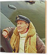 Spitfire Pilot Wood Print