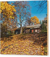 Splendor Of Autumn. Wooden House Wood Print