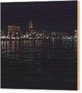 Split Old Town By Night Wood Print