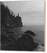 Split Rock Lighthouse  Black-and-white Wood Print