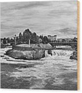 Spokane Falls From Lincoln Street Bridge In B And W Wood Print