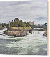 Spokane Falls From The Lincoln Street Bridge Wood Print