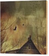 Spooky House At Sunset  Wood Print