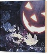 Spooky Jack-o-lantern On Fallen Leaves Wood Print