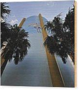Spoonbill Through Palms Wood Print