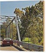 Sports Car On A Bridge Wood Print