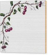 Spray Of Cherries Wood Print
