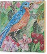 Spring Bluebird Collage Wood Print