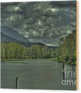 Spring Clouds At The Nicomen Slough Wood Print