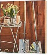 Spring Gardening Wood Print by Amanda Elwell