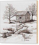 Spring House Wood Print