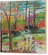 Spring Pond Side Wood Print