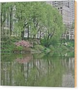 Spring Reflections Of Manhattan In Central Park Wood Print