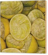 Squeezed Key Lime Halves Wood Print