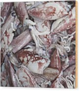 Squid For Sale In A Market Wood Print by Skip Nall