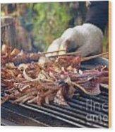 Squid Skewers Barbecue Wood Print