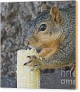 Squirrel Holding Corn Wood Print