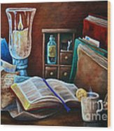 Srb Candlelit Library Wood Print